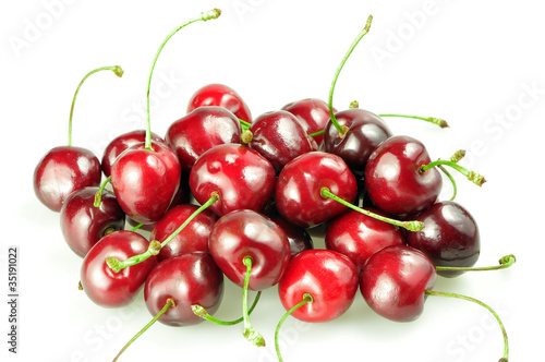 heap of cherries isolated