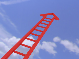 red ladder of success to the sky