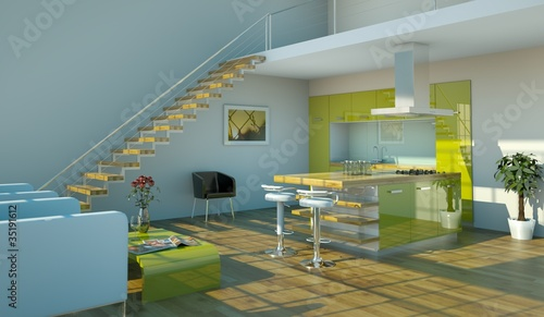 Wohndesign grüne Küche