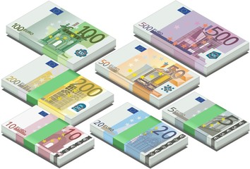 isometric full set of euro banknotes