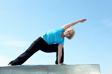 Portrait of a senior woman doing yoga