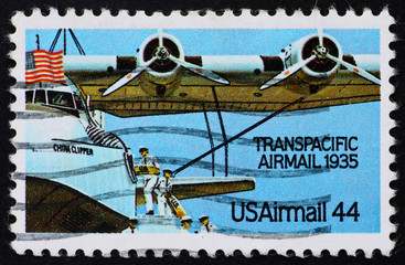 Postage stamp USA 1985 Plane Transpacific airmail