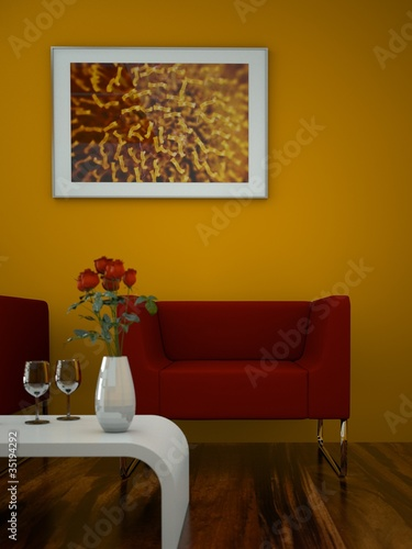 Wohndesign - roter Sessel