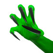 The witch's green claw. White background.