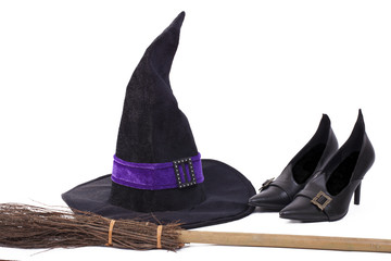 Witch's costume - hat, shoes and broom