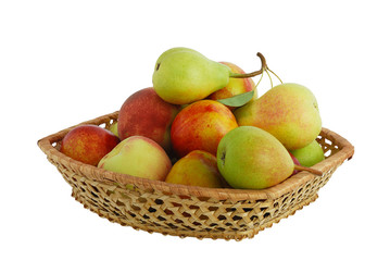 Fresh fruits in interwoven basket