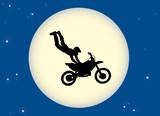Motorbike stunt moon poster