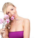Fototapety pretty girl holds a flower