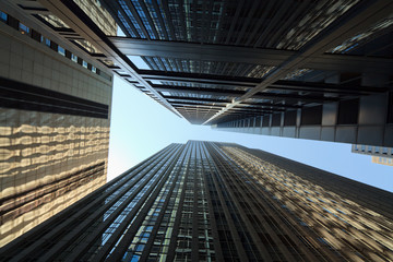 Skyward view of skyscrapers in Chicago