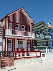 Typical beach houses of Costa Nova (Aveiro), Portugal