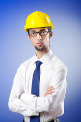 Young engineer wearing hard hat