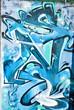 Blue Abstract Graffiti