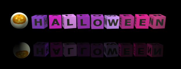 Cubes with halloween word