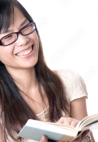 Reading a Book and Laughing