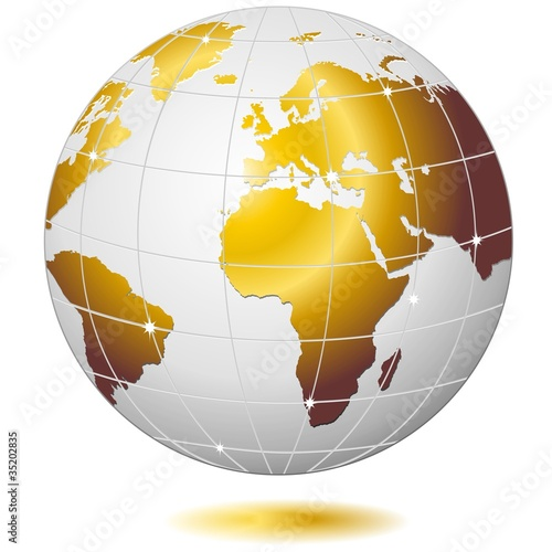 Mondo Globo D'Oro-Golden Earth Globe-Vector