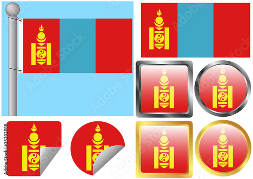 Flag Set Mongolia