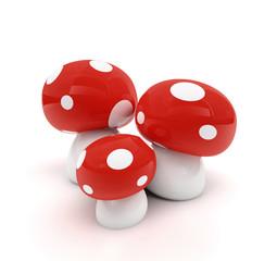rot/weiß gepunkteter Pilz als 3D-Bild