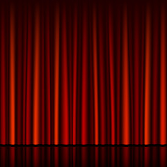 Horizontally seamless red curtain with stage