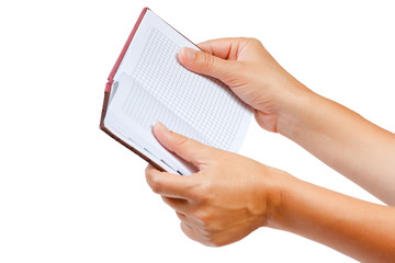 Open notebook for notes in the hands