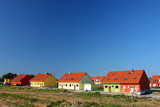 Colorful semi-detached houses - free copy space poster