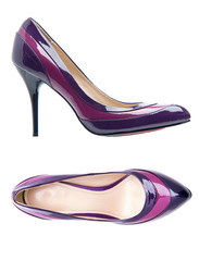 Violet female shoes over white. With clipping path.