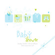 Baby boy shower card with copy space