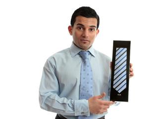 Salesman holding a tie