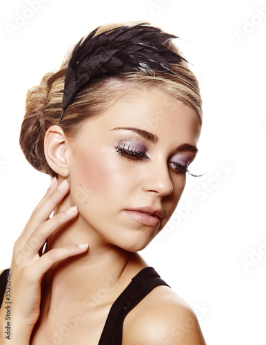 beautiful  woman with long eyelashes