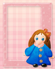 pink frame with vintage cute doll on decorated background