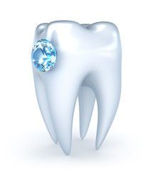Tooth with blue diamond, over white