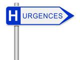 Panneau hôpital, urgences poster