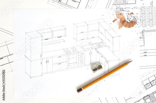 Sketch of kitchen furniture - 35212082