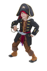 adorable little boy dressed in pirate's costume