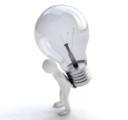 Man with Lightbulb in 3D