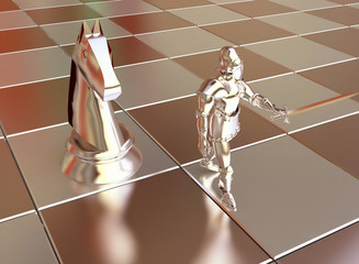 Golden Chess Knight with Horse in 3D