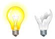 glowing and broken down light bulbs