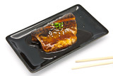 Japanese food style , Saba fish grilled with sauce poster