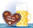 Oktoberfest Grüße mit Lebkuchenherz und Biermaß