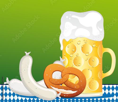 Oktoberfest Zunft mit Weißwurst, Brezel und Biermaß