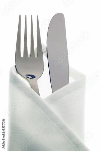 Leinwandbild Motiv Messer, Gabel und Teller