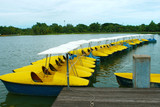 Yellow and  blue water-cycle boat in park poster