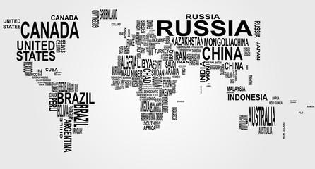 fototapeta mapa świata z nazwami kraju