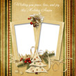 Christmas vintage greeting frame with the wishes