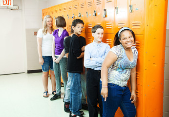 Diverse Students at Lockers