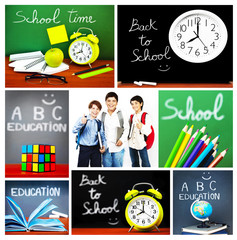 Back to school concept collage