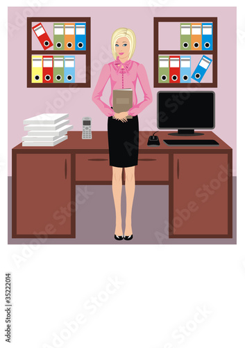 Businesswoman in office. vector