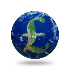 British Pound Earth Outlined