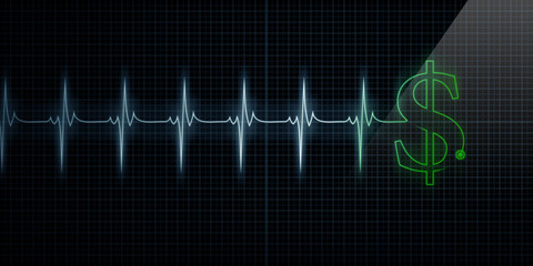 Heartbeat Monitor with Green Dollar