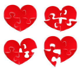 Vector Red Heart Puzzles