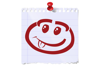 gesicht frech lachend notizzettel pin pinwand kind smiley